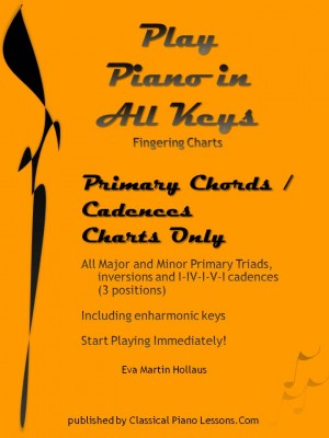 Play Piano In All Keys Fingering Charts Primary Chords Cadences Only